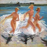 Alexander Alexandrovich Deyneka (1899-1969)    Running girl   Oil on canvas, 1941   6579 sm